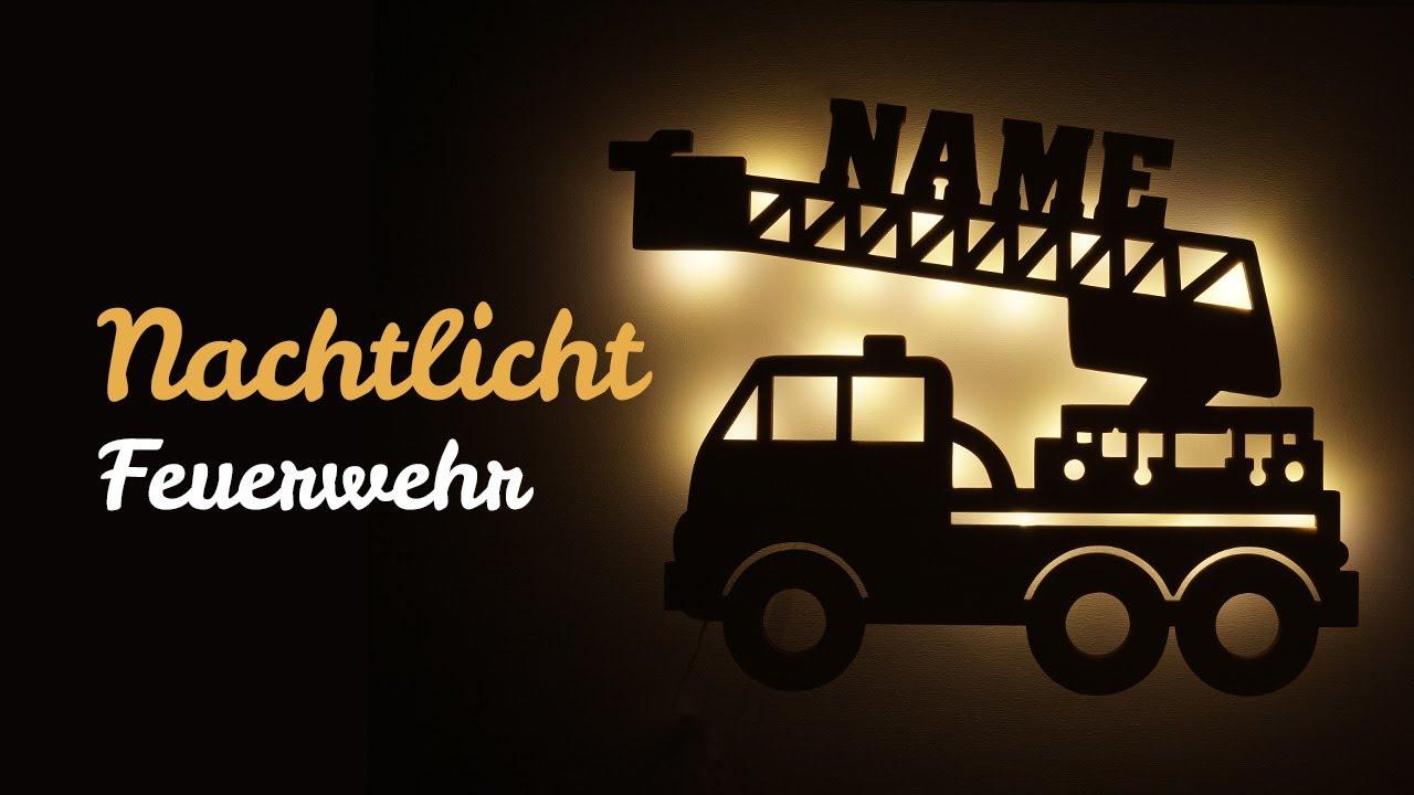 LED Feuerwehr Lampe Nachtlicht für Kinder mit Name ...