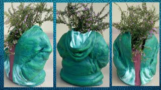 Cement Craft Ideas- Easy and Simple Must Try Cement pot Using Hoodie Jacket