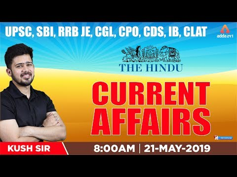 Current Affairs PDF and The Hindu Show Update | 21st May 2019