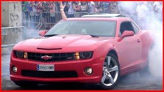 Chevrolet Camaro Burnout, Drifting donuts, V8 smoking tires! (2016 Pure sound)