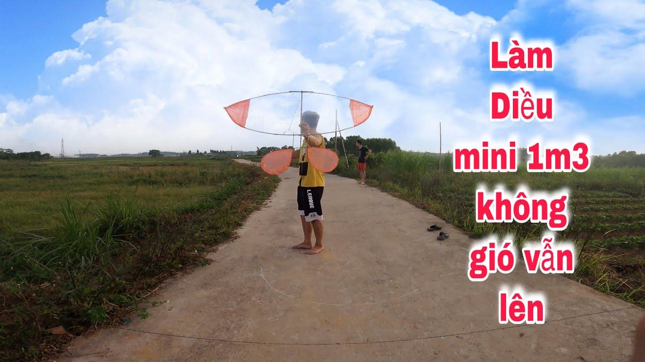 Small flute kite 1m3 | hướng dẫn làm diều sáo mini không gió vẫn lên | Guide to making kite flute