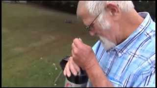 Angry Grandpa Is On Helium - Diet Coke And Mentos Explosion