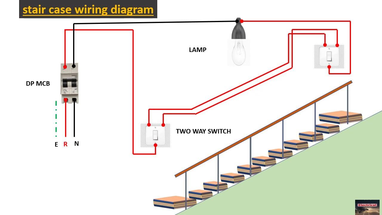 staircase lighting wiring diagram - YouTube