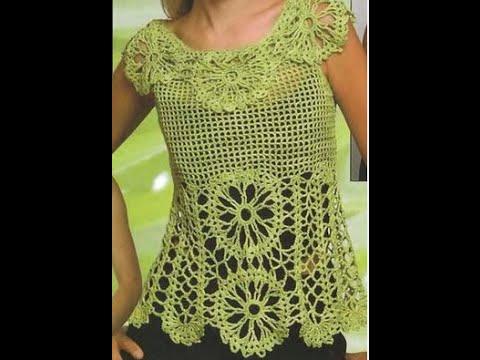 Gráficos para tejer Blusa Calada a Crochet - YouTube