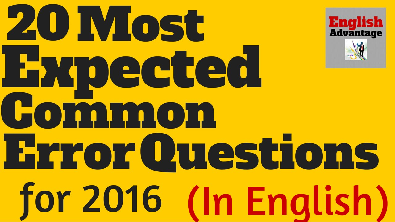 Most Expected Common Error Questions for IBPS PO 2016 and SSC (in English)