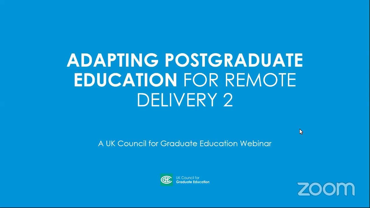 2nd Adapting Postgraduate Education for Remote Delivery Webinar