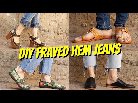 DIY || FRAYED HEM JEANS || 4 WAYS!!!👖