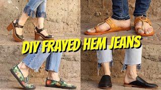 DIY || FRAYED HEM JEANS || 4 WAYS!!!