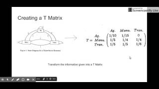 Leontief Input-Output Matrix Part 1