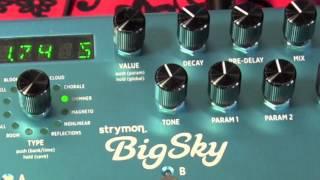 Strymon BigSky Reverb machine guitar pedal demo with dirty amp tone