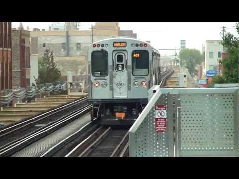 "CTA Transit: 2009-12 Bombardier 5000 Series ""L"" Green Line Train at Morgan Station"