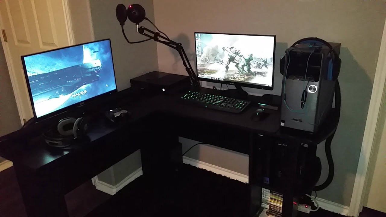 2016 GAMING SETUP VIDEO LShaped Desk Setup  YouTube