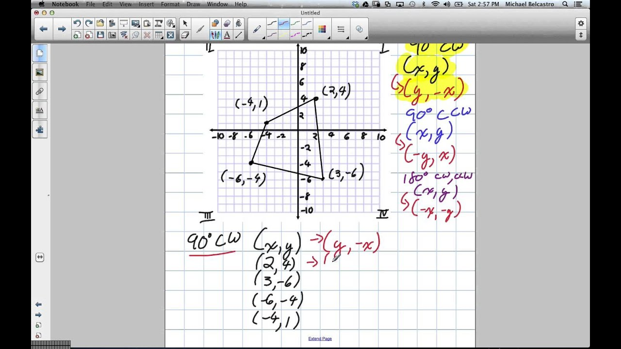 Rotation of 90 degrees Clockwise by Coordinates Grade 8 Nelson – Geometry Rotations Worksheet