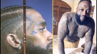 Rick Ross Paints His Elevator Door With Nipsey Hussle Portrait