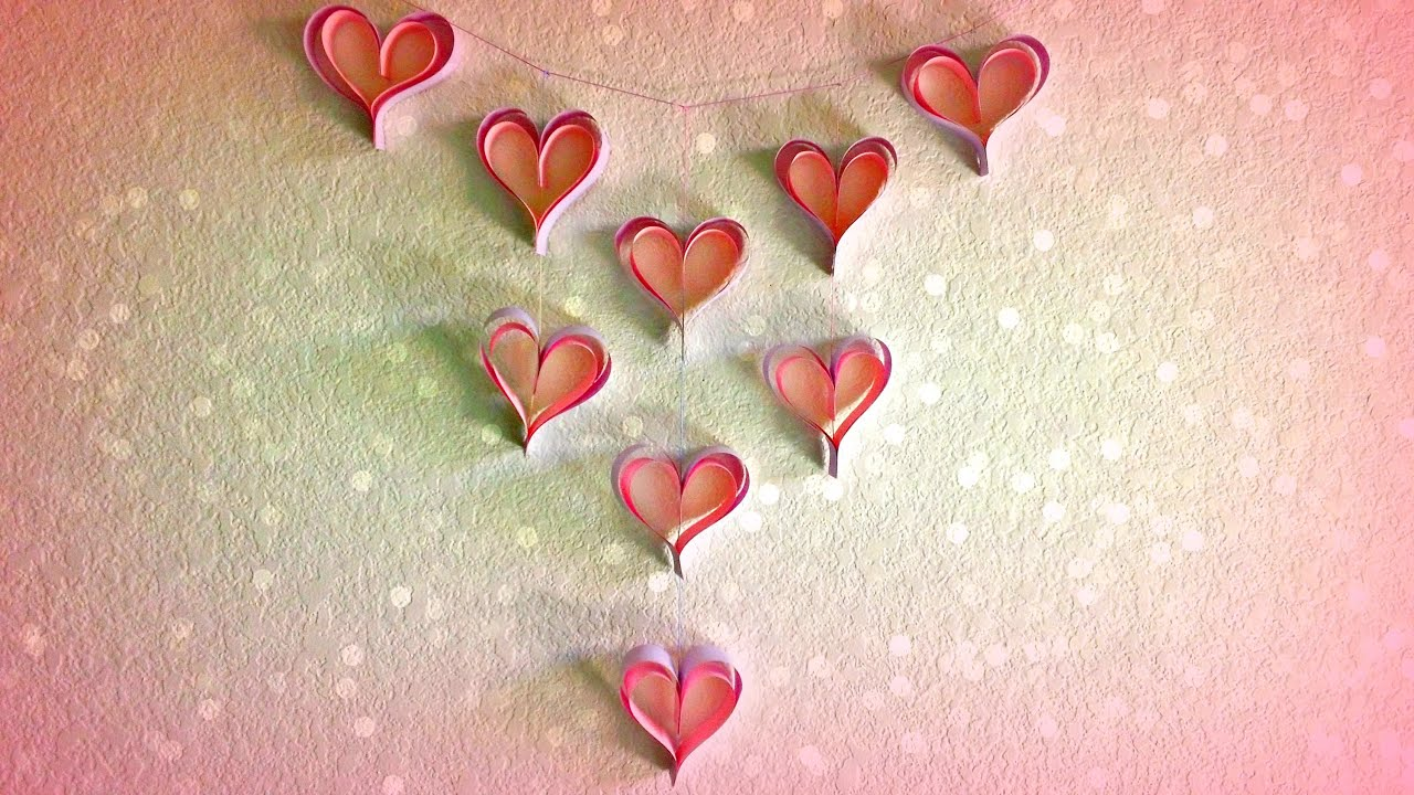 Diy paper decorations heart chandelier youtube for Heart decoration ideas