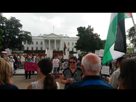 Washington DC Protest for Gaza with Counterprotest by Israel August 9 2014