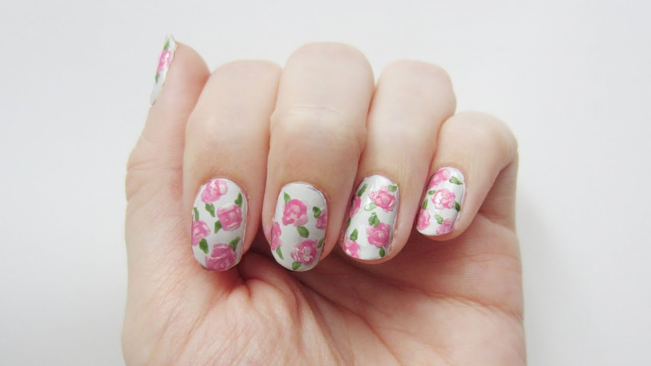 nageldesign rosen vintage roses nail art 39 seni nageldesign youtube. Black Bedroom Furniture Sets. Home Design Ideas