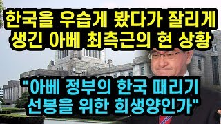 한국을 우습게 봤다가 좆겨나게 생긴 아베 최측근의 현 상황 아베 정부의 한국 때리기 선봉을 위한 희생양인가