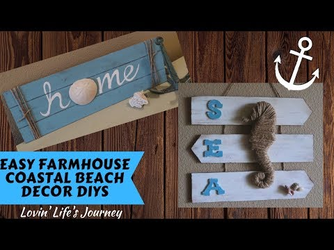 Easy Dollar Tree DIY Farmhouse Coastal Beach Decor