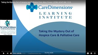 Originally presented september 30, 2020. mary crowe, licsw, achp-sw, c.d.s. discusses the common myths and misconceptions of hospice care along with an overv...