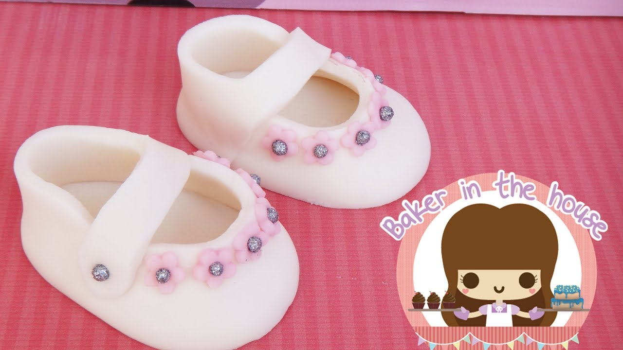 Zapatitos De BebÉ En Fondant Youtube - Baby Shower Zapatito Bebe