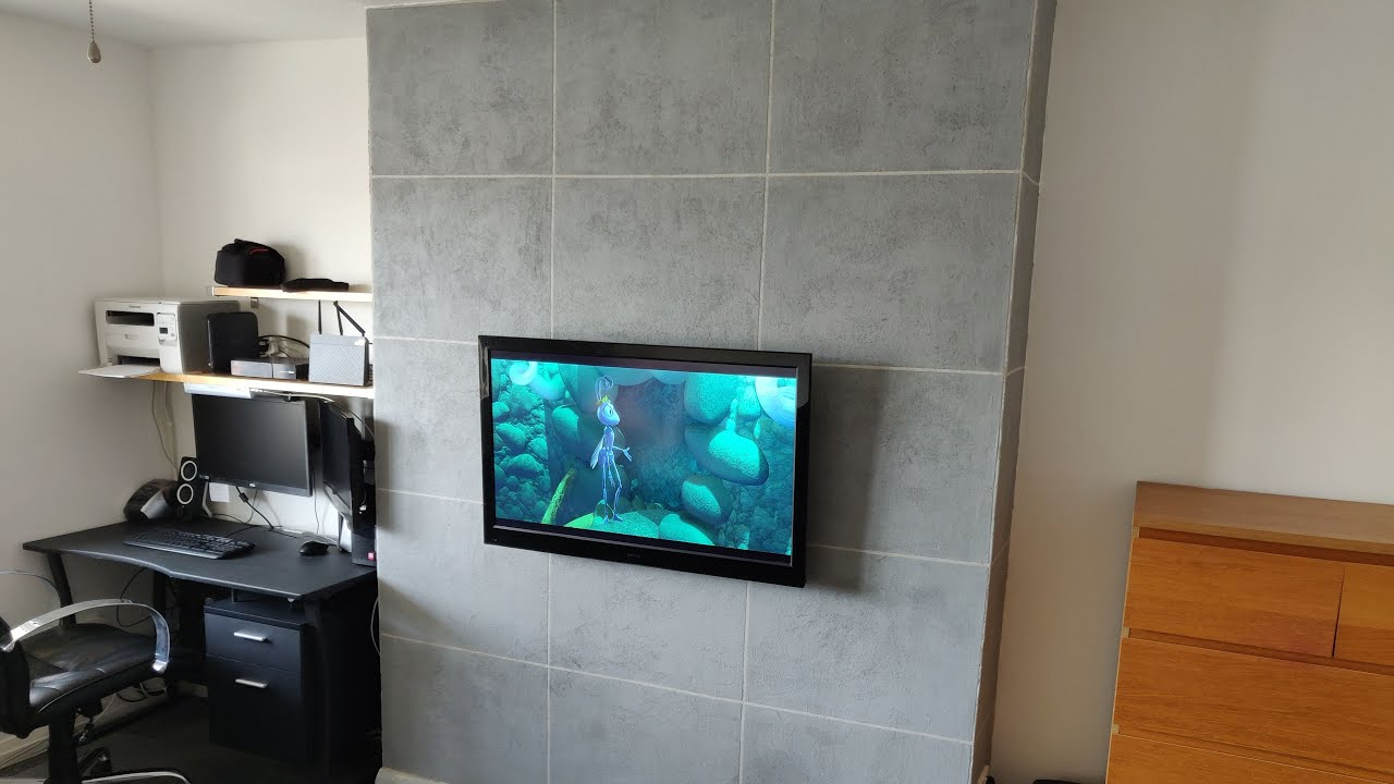 Diy Modern Concrete Look Texture Wall In Living Room Not Tiles Youtube