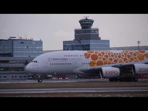 4K Emirates Airbus A380 at Prague  A6-EEA Orange Dubai Expo livery