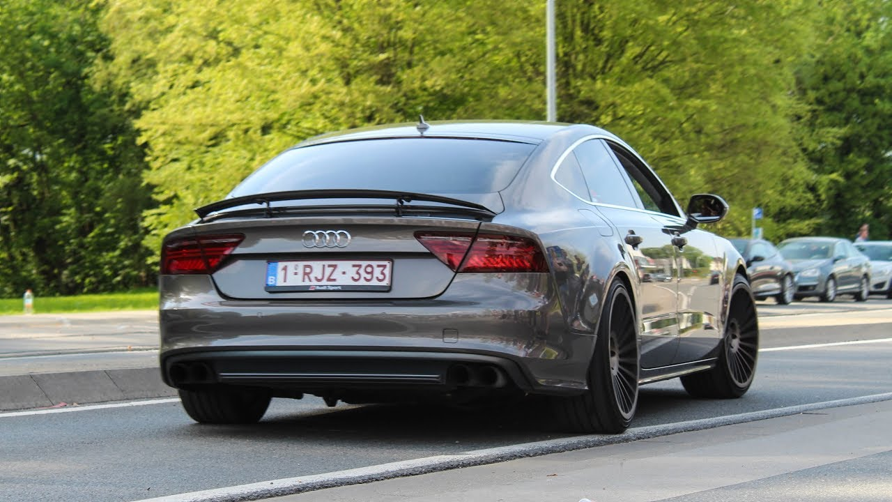 533 hp audi a7 w custom exhaust loud accelerations and sounds