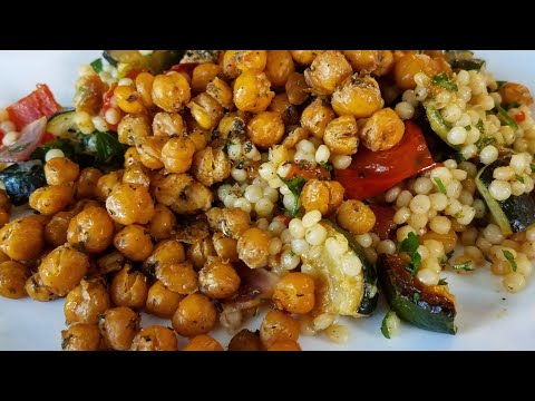 Roasted Veggie Couscous and Garlic Herb Chickpeas
