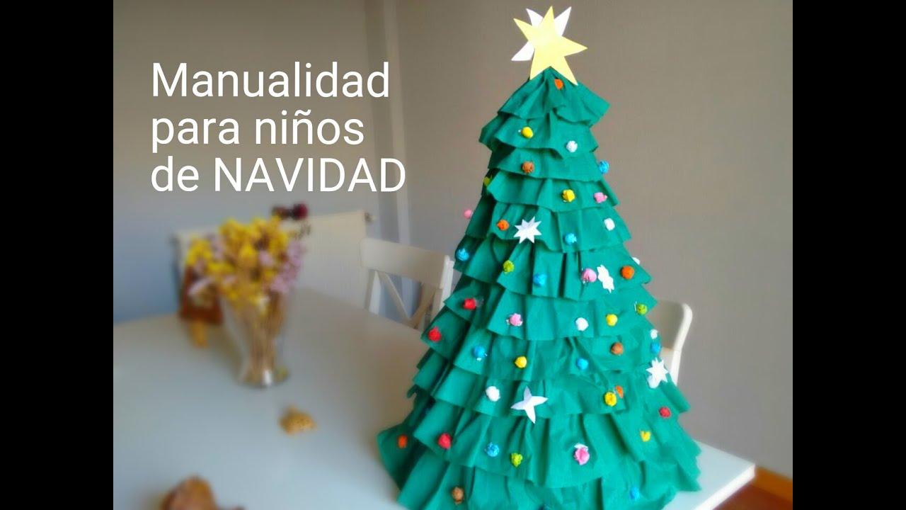 Rbol de navidad muy facil manualidades para ni os youtube for Arbol de navidad mural