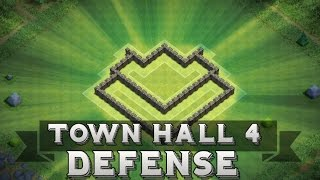 Clash Of Clans | Town Hall 4 Defense + Defensive Replays ( Th4 Base )