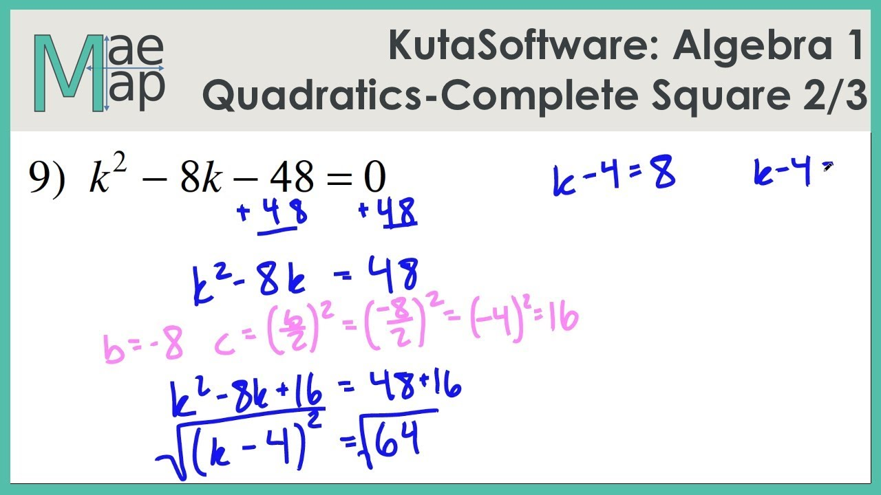 KutaSoftware: Algebra 1- Solving Quadratics By Completing The Square ...