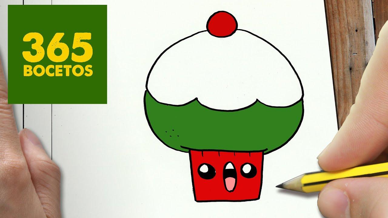 Como dibujar un cupcake para navidad paso a paso dibujos for Dibujos sencillos de navidad