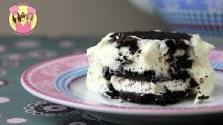 OREOS & CREAM DESSERT - Yummy No Bake Cookie Treat - Chocolate Ripple Cake