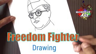 How to draw Subhash Chandra Bose - kids drawing, easy drawing | freedom fighter