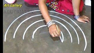 Innovative creative Door Peacock  Rangoli designs with deepam
