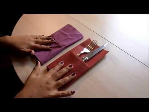 Doblar servilletas de papel para cubiertos decorar la - Como decorar la mesa de navidad ...