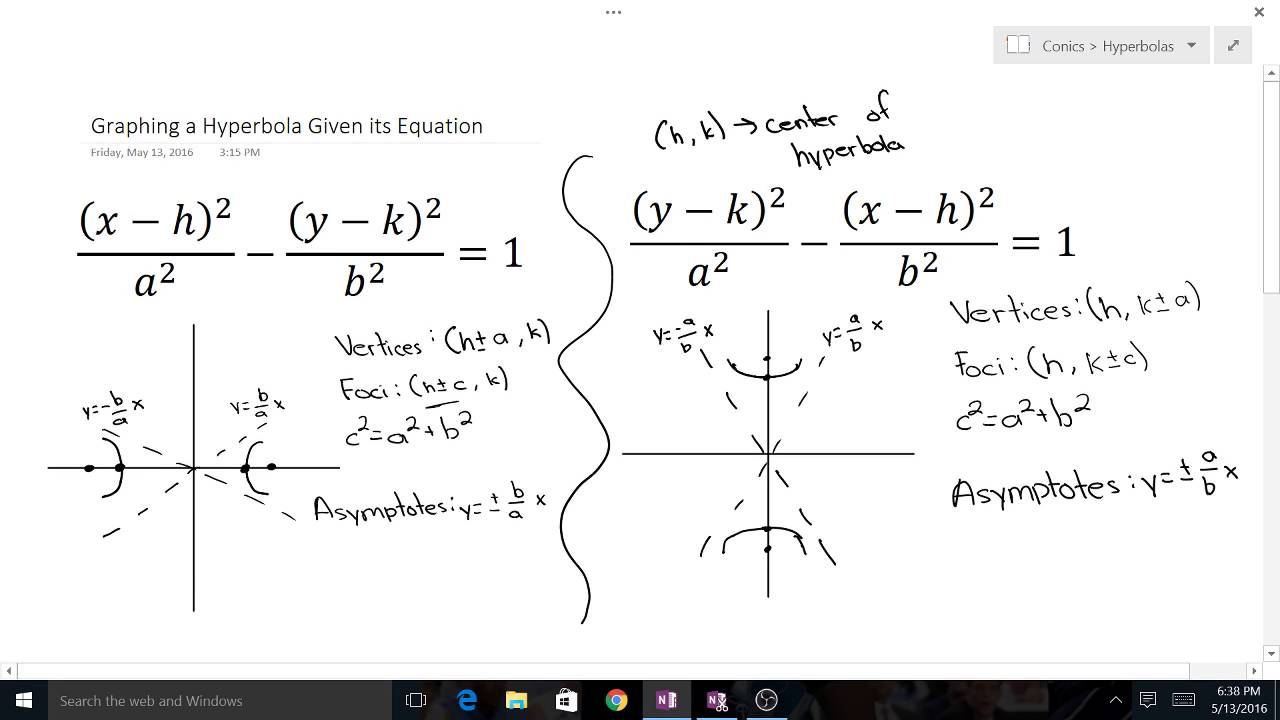 worksheet Graphing Hyperbolas graphing a hyperbola given its equation youtube