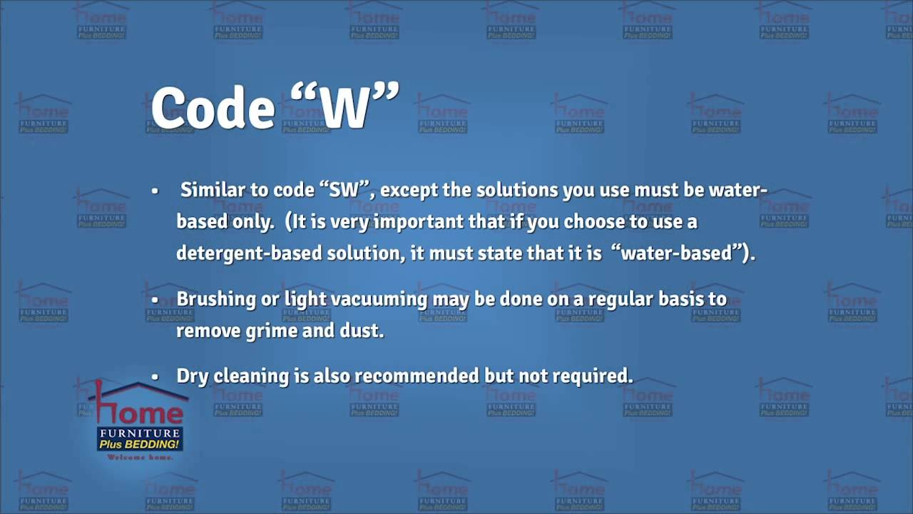 Furniture Cleaning Codes And What They Mean