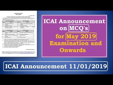 ICAI Announcement on MCQ || Announcement on our E-Mail Query || May 19 and Onwards || 11/01/2019