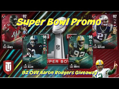 Madden 17 Super Bowl Promo 98 Marcus Allen Reggie White  97 Julio Jones and Aaron Rodgers Giveaway