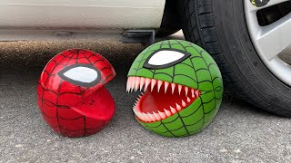 Experiment Car vs Spider Pacman, Watermelon | Crushing crunchy & soft things by car | Test Ex