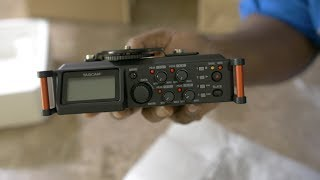 Tascam DR-70D 4 Channel Portable Audio Recorder Unboxing