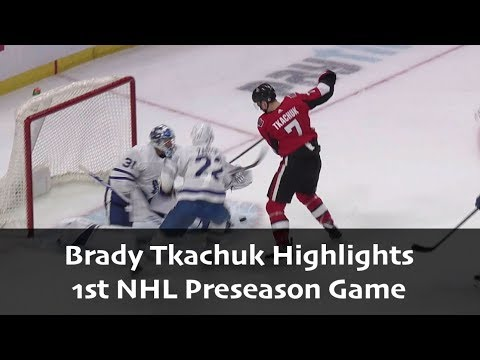 Brady Tkachuk - 1st NHL Preseason Game Highlights