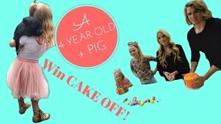 4 year old + miniature pig + Cake War with Jojo Siwa, Everleigh, Savannah Soutas, & Cole LaBrant