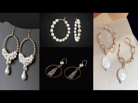 latest-fresh-water-pearl-hoop-earring-designs||beautiful-pearl-hoop-earrings-designs-for-girls