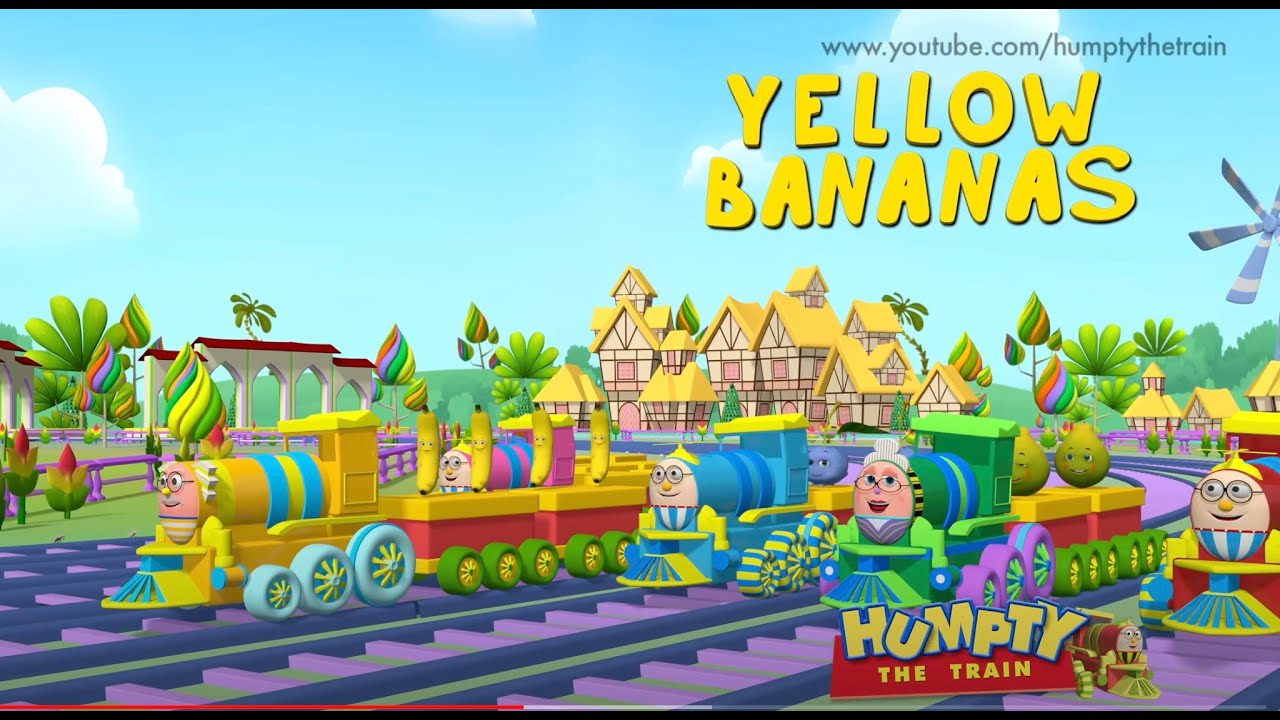 Learn spelling of fruits with Humpty the train and his balloon and fruit friends. | Humpty the train