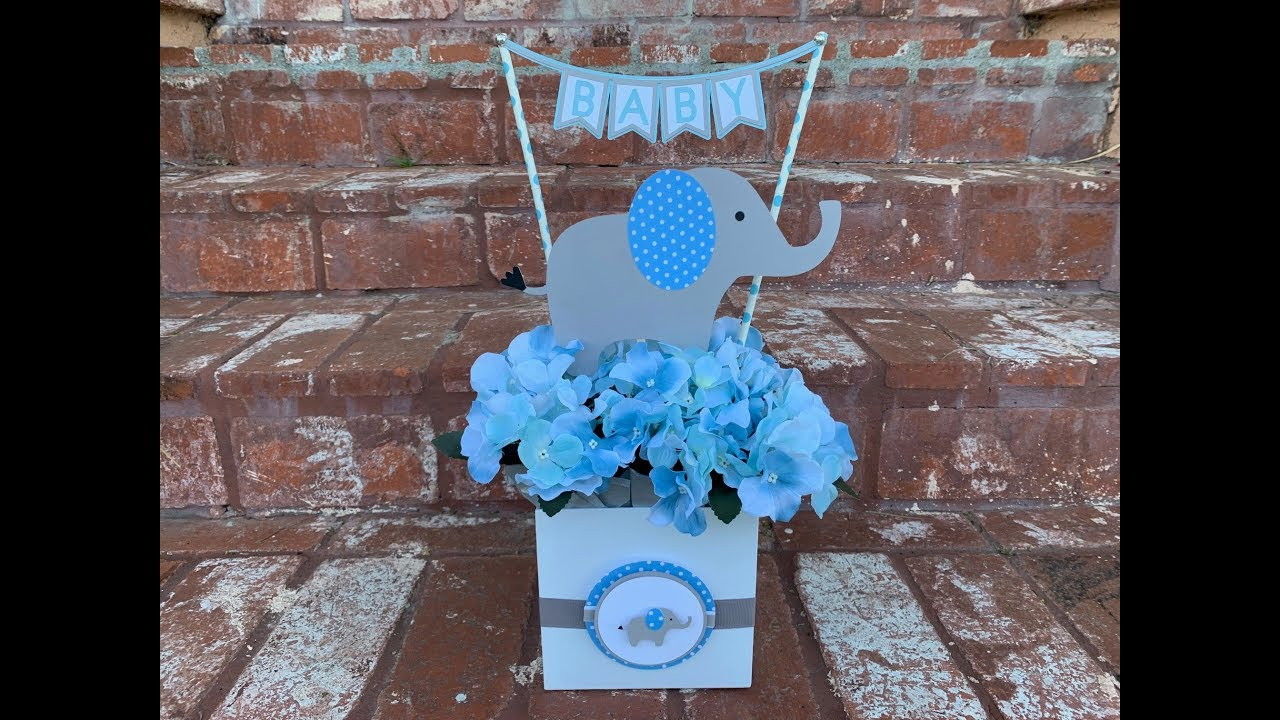 Ideas De Decoraciones Para Baby Shower De Nino.Centro De Mesa De Elefante Para Baby Shower Elephant Baby Shower Centerpiece