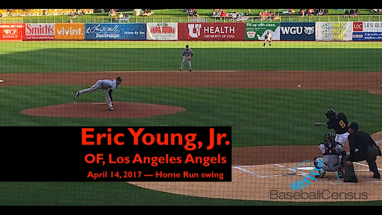 Eric Young Jr Los Angeles Angels April 14 2017 Home Run Swing Baseball Census