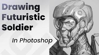 Greyscale futuristic soldier